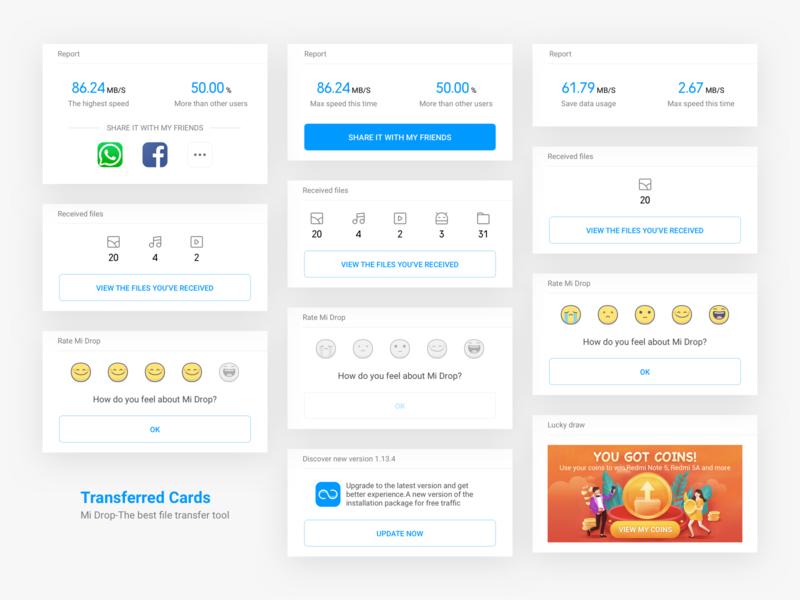 Mi Drop Transferred Cards share card transfer rate icon ux design ui app