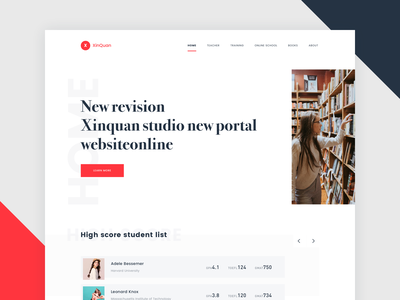 Xinquan Postgraduate Redesign Home Page red master score fraction grade transcript postgraduate ux ui web design design