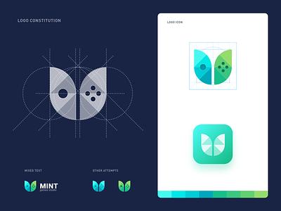 Mint Games Studio Logo leaf green studio game games mint illustration design design icon logo