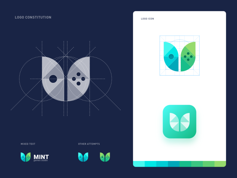 Mint Games Studio Logo leaf green studio game games mint illustration design design icon logo