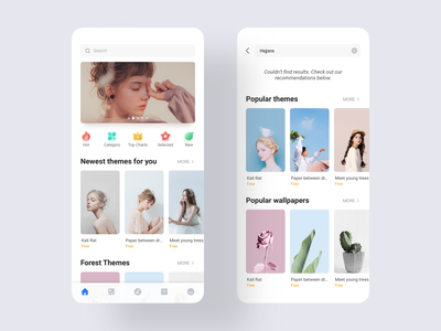 MI Theme store overseas version try music font wallpaper teenage girl result search banner newest popular new selected top charts category hot blue ux icon app ui design