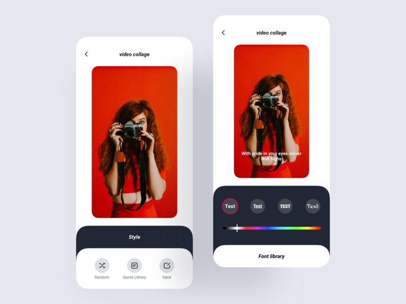 MI Zili Puzzle video Quote edit style1 large rounded corner ux icon app ui design color font library random red select video quote lyrics