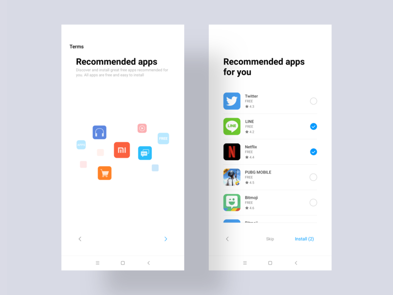 MIUI10 overseas system application recommendation phone blue ux logo illustrations icon ui design xiaomi mi guide international overseas room boot
