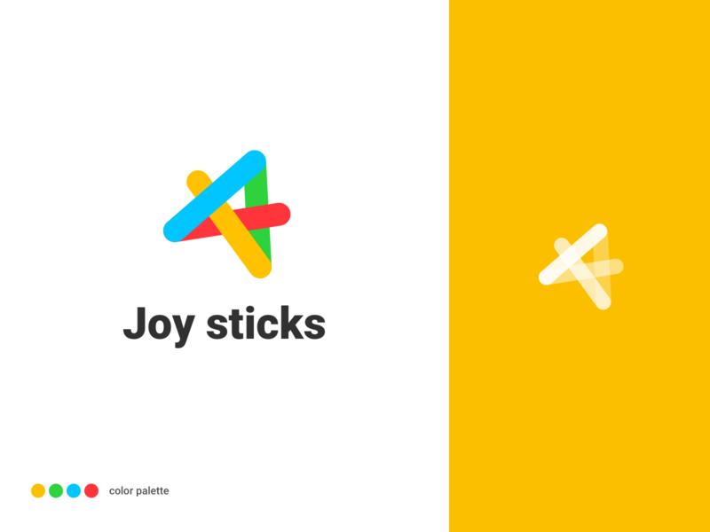 Joy Sticks logo color interesting game sticker ice cream green orange red blue illustrations icon logo