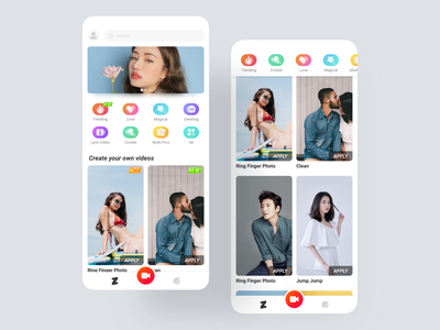 Zili Home page and after sliding color green blue red design ux ui app icon shooting banner mv puzzle video short video video home