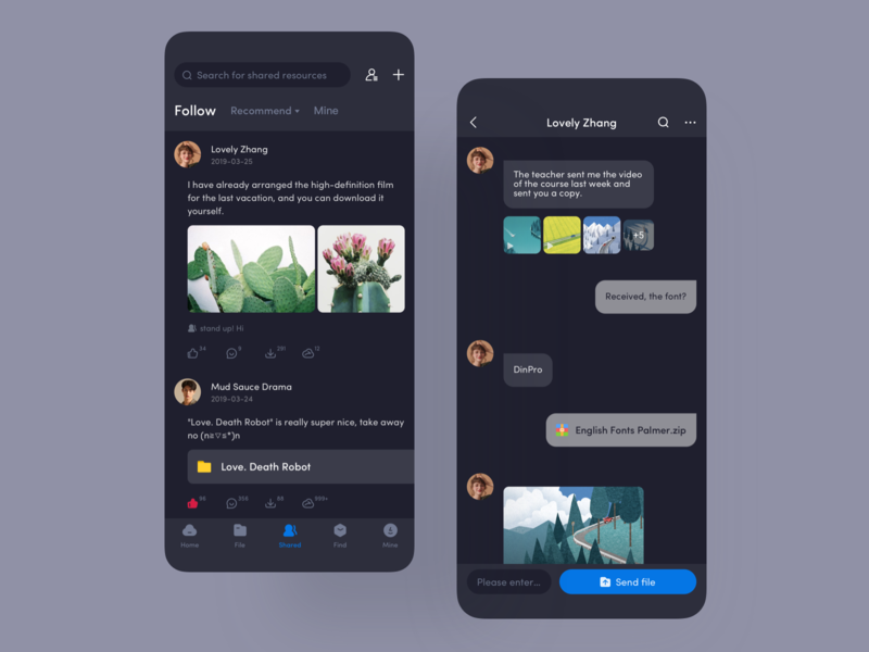 Network disk resource private sharing blue balck icon design ui app ux deep dark mode bubble direct play message chat individual publicity sharing private resource disk
