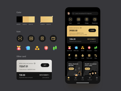Financial APP illustration stock wealth card silver dark mode gold ux icon design ui app bullion financial