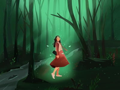 Girl in the forest illustration design small river tree green butterfly firefly girl illustrations