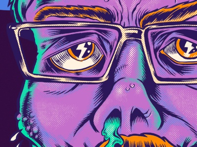 Frank Kozikstein portrait frankenstein mustache gore glasses frank kozik