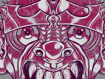 Reckless Words samurai mask japan monster creature fangs