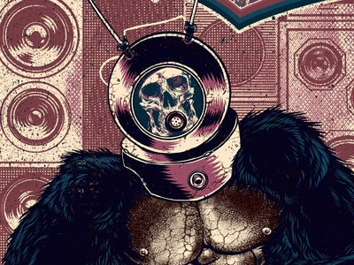 Mixology Poster W Text gig poster robot monster dj poster design poster skull