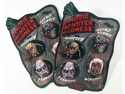 B-Movie Monster Buttons Set classic monsters horror b-movie nosferatu morlock astro zombie phantom