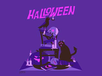 Halloween night! ghost night cat spooky design illustration halloween