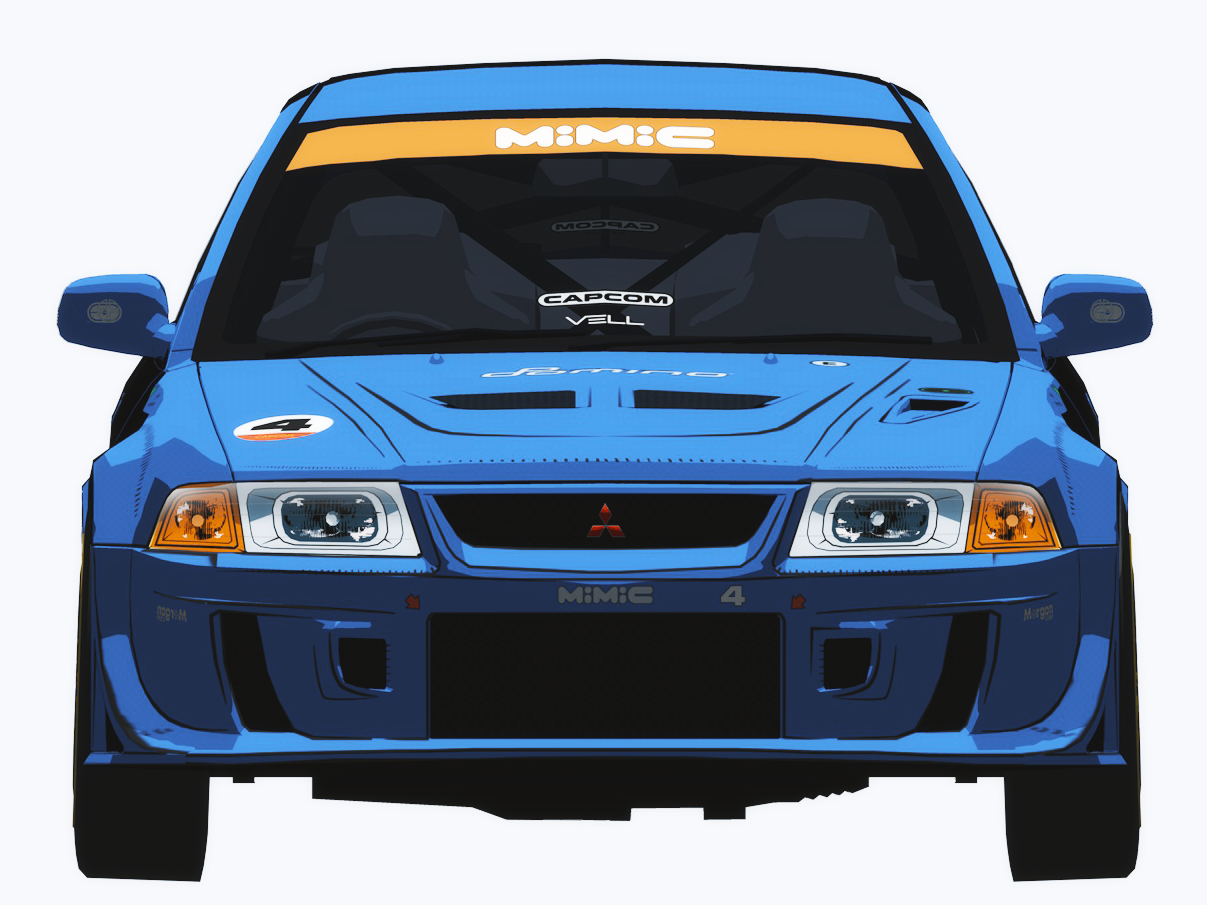 Auto Modellista Mitsubishi Evo 6 design playstation video game racing automodellista c4d toon anime 3d cel shading cel shader jdm auto car capcom