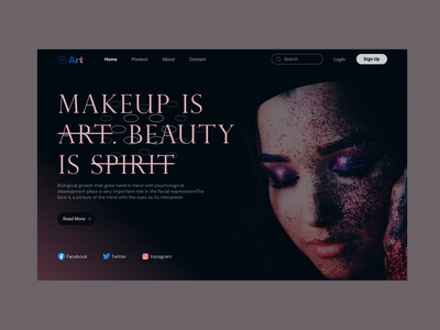 Face Art Website animation motion graphics graphic design vector halo webdesign dark website home clear illustration logo branding creative design ui uiux makeup face art