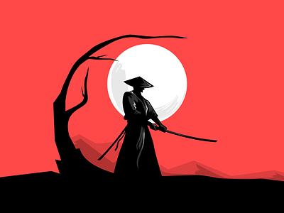 Samurai Illustration - Wielding Freemium black red visual design graphic design web design sword katana samurai illustration