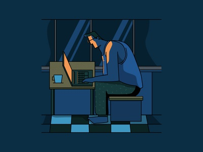 WFH! freelancer working illustration