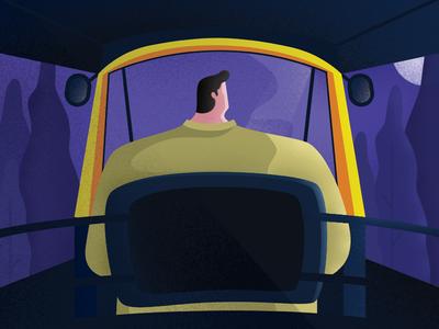 Daily scene! ride night illustration texture auto