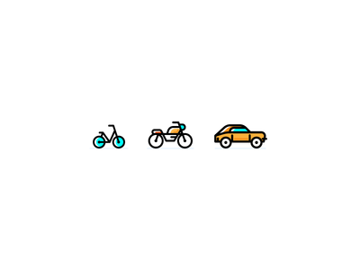 Travel Icons car cycle motorcycle