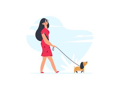Dog Walker hand-drawn character dog walk girl