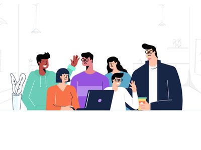 Coffee Desk! coffee office team characters illustration