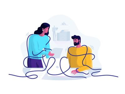 Tangled workspace office tangled design illustration