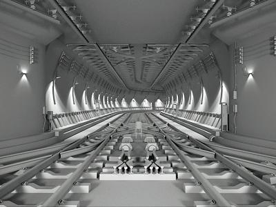 Tunnel tunnel c4d 3d cg cinema 4d wip subway underground tube vray render