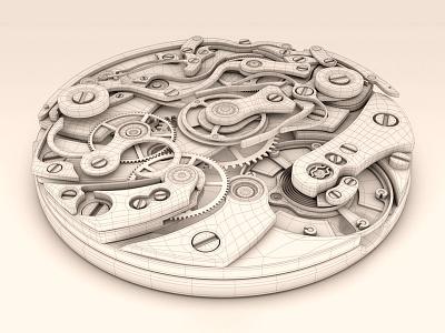 Uhrwerk Wire cinema4d c4d wireframe 3d cg model cinema 4d watch movement clockwork render