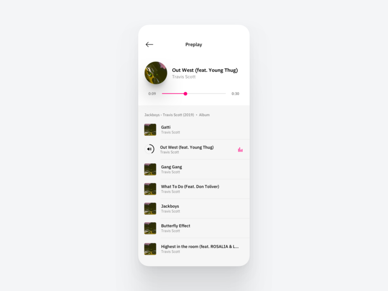 Simple preplay view for a client project audio player audio app audio music player music app music interface app ui