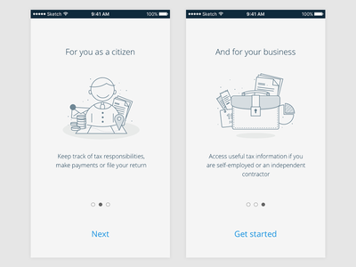 Onboarding/guide service app interface ui