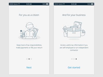 Onboarding/guide service app interface ui