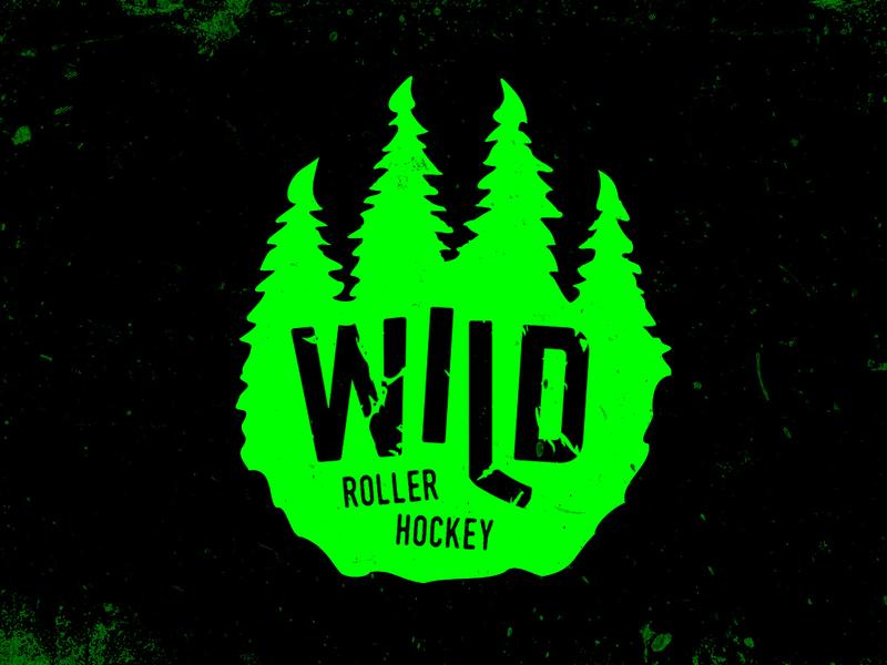 Wild hockey stick green paw trees roller hockey logo