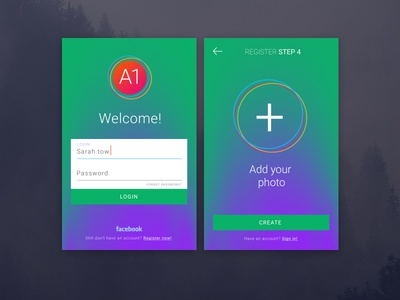 A1 sign in/sign up views register login sign up sign  in components free ui kit ux ui