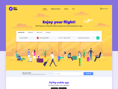 Fly Trip online ticket booking airplane tickets landing page