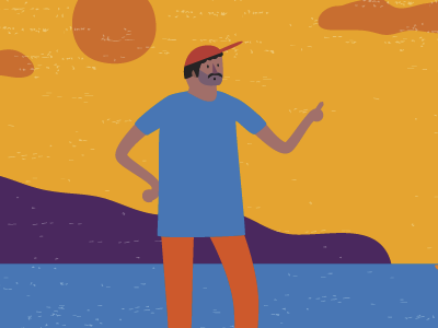 Beach, man beach afro man colorful vector character design illustration