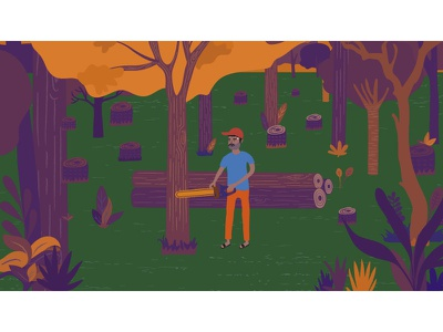 Slave labor and deforestation tree vector illustration character design