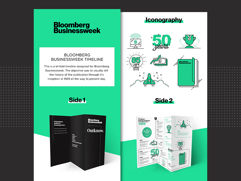 Bloomberg Businessweek Timeline magazine money computer rocket flat design turquoise timeline brochure trifold icons vector print