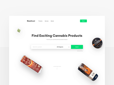 Blazescout — Home discovery images cannabis startup landing website search landing page homepage