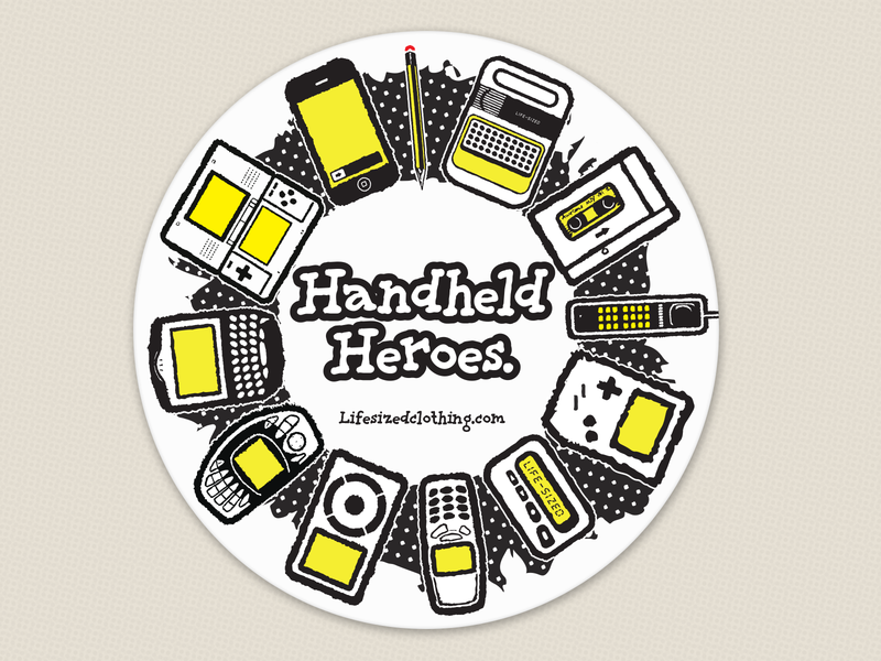 """Handheld Heroes"" coaster design nokia pencil nintendo ds pager ngage ipod sony iphone walkman dynatac blackberry apple clothing brand coaster"