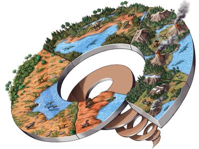 Dinosaurs Timeline spiral water volcano archaeology history prehistoric dinosaurs timeline magazine digital art illustration