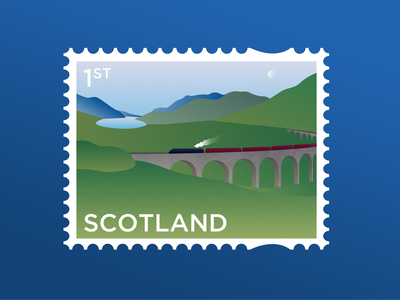 Staycation design weekly warm-up scotland stamp illustration