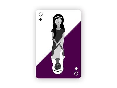 Queen of Diamonds playing cards vector illustrations playing card queen of diamonds queen photoshop procreate illustrator dribbleweeklywarmup weekly warm-up illustration design
