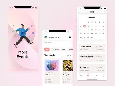 Event study application design ux ui app