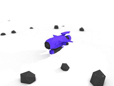 Nanoship - 01 tilt-shift tilt shift low-poly low poly lowpoly ship space spaceship design illustration flat 3d animation micromachine