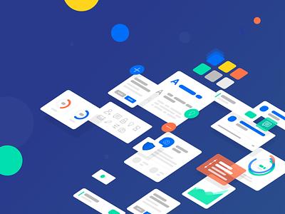 Design system app web ux typography vector design ui flat illustration