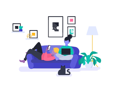 Living Room vector ui design lottie flat animation illustration plant cat home room living room woman man boy girl sofa couch people