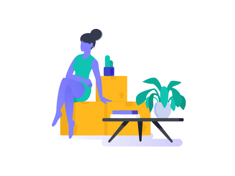 Moving out minimal cactus moving out modern woman girl vector design illustration flat energy moving company moving