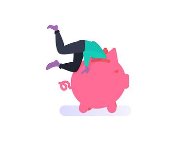Where is my money ? empty pot jackpot bank piggybank piggy women men branding vector ui illustration flat