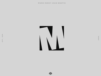 Migros market chain negative icon logo designer logodesign logo yalçın gözüküçük minimalist logo migros market chain migros market migros