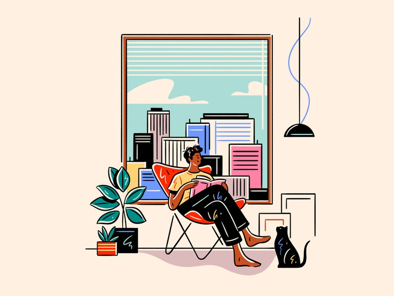 Stay Home Save Lives view window cat stayhomesavelives covid19 home people flat graphic simple nature design vector illustration